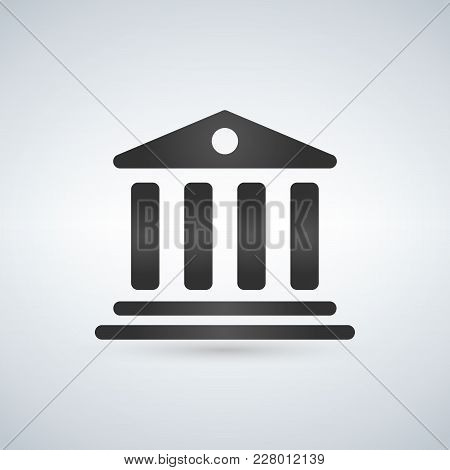 House With Columns Icon. Building Of Bank, Government, Court House, Educational Or Cultural Establis