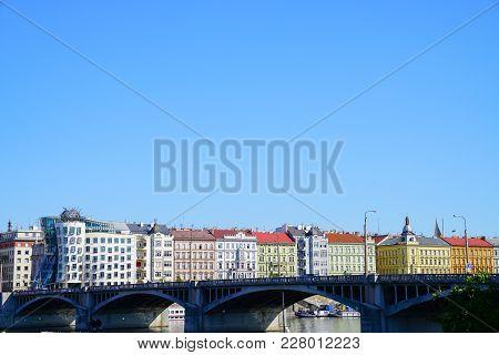 Prague Czech Republic - August 31, 2017; Colorful European Architecture With Landmark Dancing House