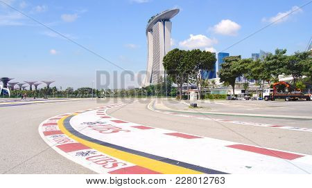 Singapore - Apr 2nd 2015: Formula One Racing Track At Marina Bay Street Circuit. The Symbol Of Formu