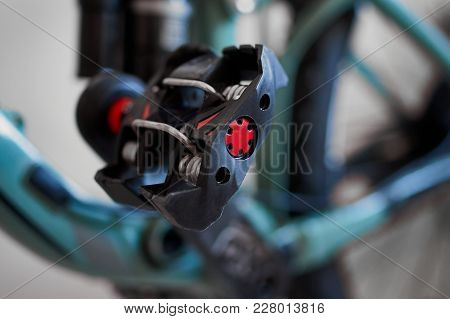 Bicycle Clipless, Contact Pedal. Blurred Background Image.