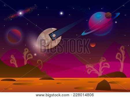 Vector Illustration Of Spaceship Flying Over Alien Planet In Opened Space. 10 Eps