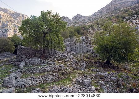 Old Stone Ruins In The Mountains In The Town Of Kotor Montenegro