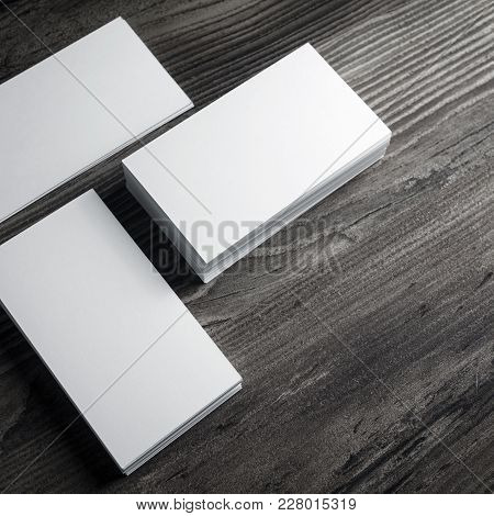 Blank White Business Cards Mockup On Wood Table Background.