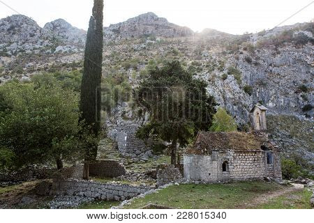 Abandoned Stone Church In The Mountains Of Kotor In Montenegro