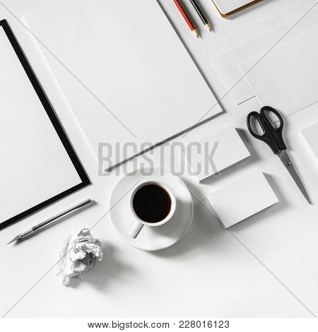 Blank Stationery Set On Paper Background. Corporate Id Template. Responsive Design Mockup.