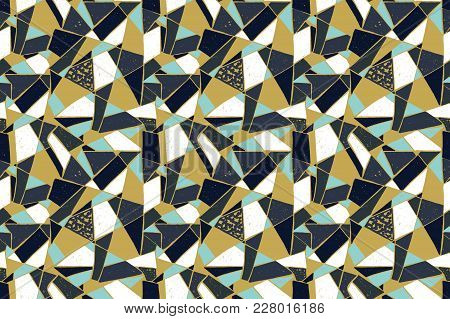 Mosaic Pattern Of Broken Tile. Seamless Hand Drawn  Pattern With Markers. Trending Memphis Style.  A