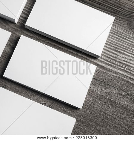 Blank White Paper Business Cards With Soft Shadows. Mock Up For Id.
