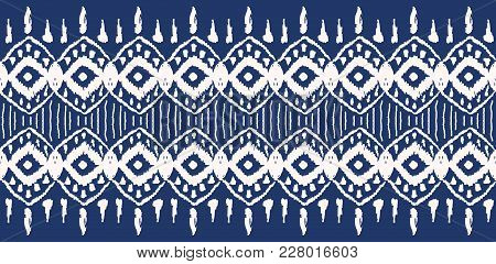 Ikat Seamless Pattern. Vector Tie Dye  Shibori Print With Stripes And Chevron. Ink Textured Japanese