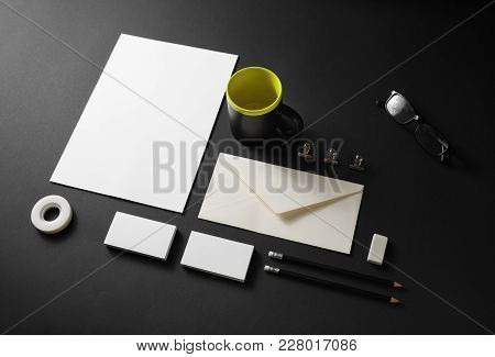 Blank Stationery Set On Black Paper Background. Corporate Identity Template. Responsive Design Mocku
