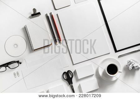 Blank Stationery Set On Paper Background. Template For Branding Identity. For Graphic Designers Port