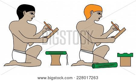 Egyptian Scribes At Work, Quill-driver, Ancient Egypt Scribes At Work Illustration, Man At Work, Gro