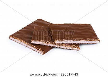 Chocolate Plate With Filling. Isolated On A White Background. Sweet And Tasty Food.