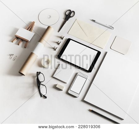 Corporate Identity Template. Photo Of Blank Stationery Set On White Paper Background.