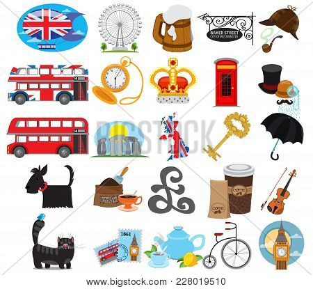 England Icons, English, Europe, Country, Tourism. Set Of Vector Icons Isolated On White Background
