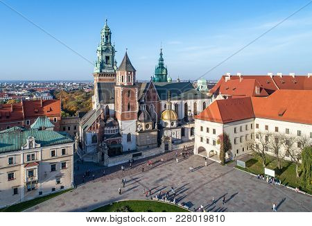 Royal Wawel Gothic Cathedral In Cracow, Poland, With Renaissance Sigmund Chapel With Golden Dome, Pa