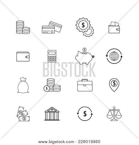 Set Of Online Finance Money Icons On White Background