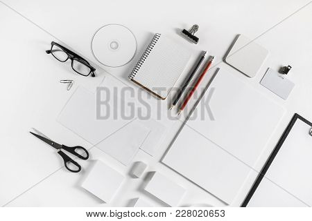 Blank Stationery Set On White Paper Background. Template For Branding Identity. For Graphic Designer
