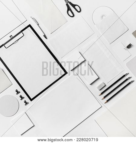Business Brand Template On Paper Background. Blank Corporate Stationery Set.