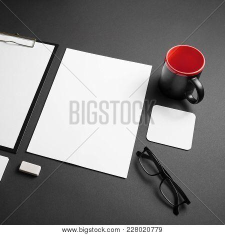 Blank Corporate Stationery Set On Black Paper Background. Branding Mock-up.