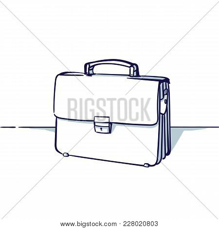 Bag Isolated On The White Background. View Under The Foreshortening. Hand Drawn Doodle Cartoon Vecto