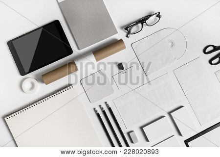 Blank Stationery Set On Paper Background. Corporate Identity Template. Responsive Design Mockup. Top