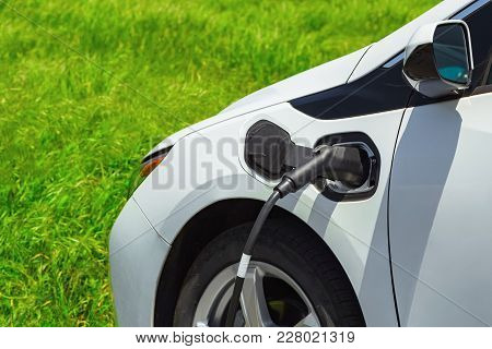 Electric Car Charging On Parking Lot With Electric Car Charging Station On Background Of Green Grass