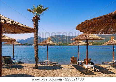 Summer  Beach Vacation. Montenegro, View Of Bay Of Kotor (adriatic Sea) Near Lustica Peninsula
