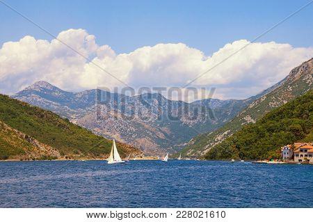 Summer In Montenegro. View Of Bay Of Kotor Near Verige Strait