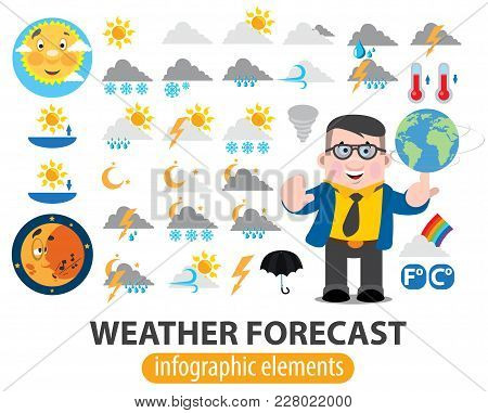 Weather Forecast Infographics Elements, Tv Weather News Reporter At Work, Tv Weather Prediction Fore