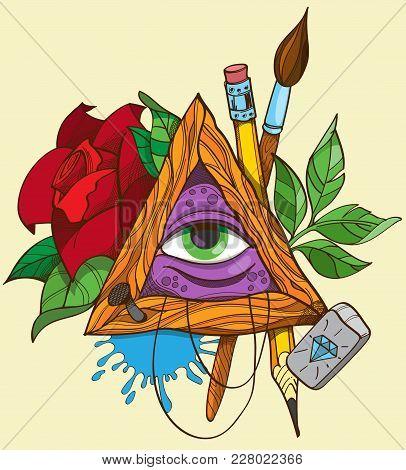 All Seeing Eye Pyramid Symbol, Tattoo. Vector Illustration