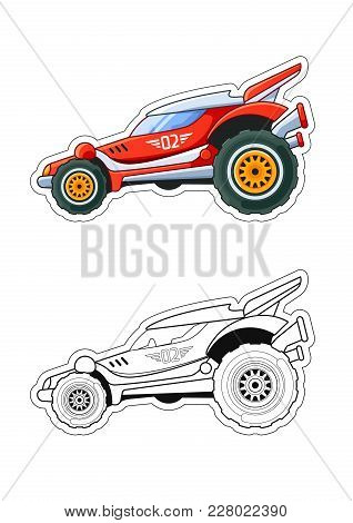 Racing Car Side View Coloring Book: Colored Version And Line Art Eps 10