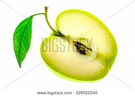 One Half Of The Sliced Green Apple Isolated On A White Background.