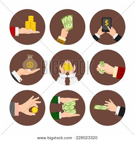 Businessman Human Hands Arm Holding Paper Money Stack Vector Illustration Finance Concept. Financial