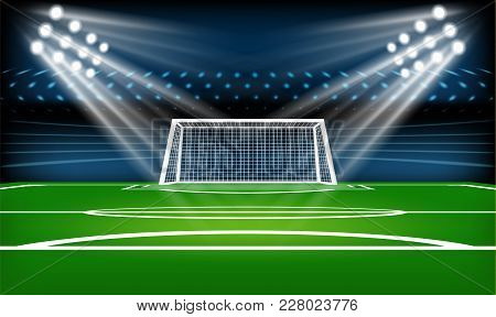 Football Or Soccer Playing Field. Sport Game. Football Stadium Spotlight And Scoreboard Background W