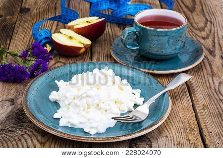 Dairy Products. Curd With Chia Seeds. The Concept Of Healthy Diet. Studio Photo