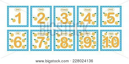 Cards With Numbers From 1 To 10, Set. Learning Numbers, Mathematics. Game For Children.
