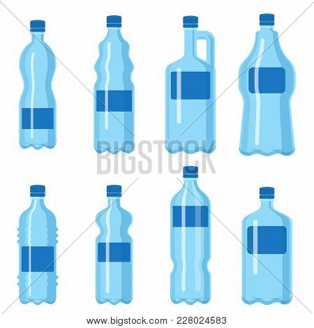 Plastic Water Bottle Vector Blank Nature Blue Clean Liquid Aqua Fluid Blank Template Silhouette Temp