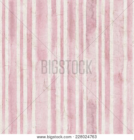 Vintage Pink Stripe Background. Old Aged Paper With Watercolor Hand Drawn Stripe Pattern. Vertical W