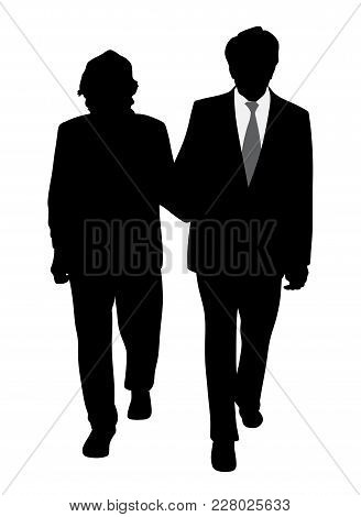 Senior Couple Walking Arm In Arm. Isolated White Background. Eps File Available.