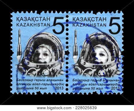 Baikonur, Kazakhstan - Circa 2013: Canceled Stamp Printed In Kazakhstan Shows Soviet Astronaut Valen