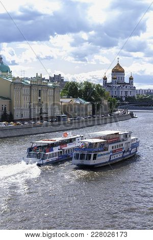 Russia Moscow, May 27, 2017, The Boats Floating On The River Moscow, Editorial