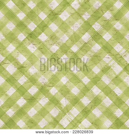 Vintage Green Gingham Stripe Background. Old Aged Paper With Watercolor Hand Drawn Stripe Pattern. D