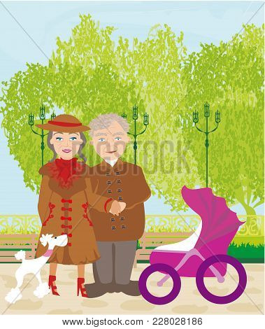Grandparents Walking In Sunny Day , Vector Illustration
