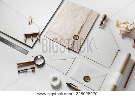 Set Of Blank Vintage Stationery Elements On Paper Background. Branding Template For Placing Your Des