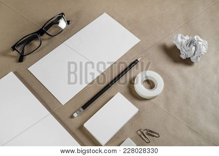 Template For Branding Identity. Blank Stationery Set On Craft Paper Background. Objects For Placing