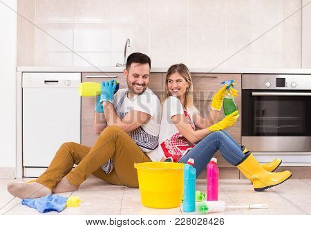 Man And Woman Happy For Finishing Chores