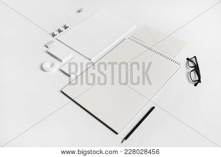 Blank White Stationery Mock-up On Paper Background. Template For Branding Identity.