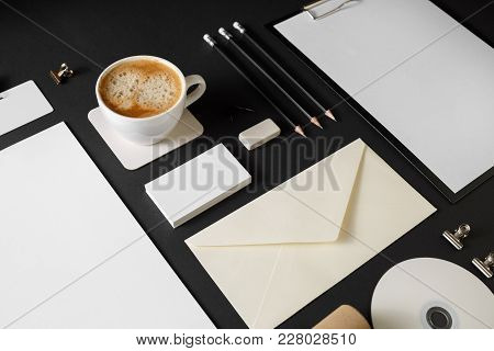 Photo Of Blank Corporate Stationery On Black Paper Background. Branding Mock Up.