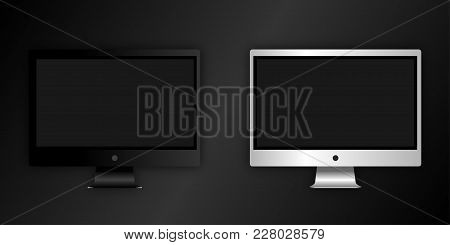 Computer Monitor, Isolated On Black. Can Use For Template Presentation, Web Design And Ui Kits. Blac