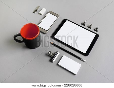 Blank Stationery And Gadgets On Grey Paper Background. Brand Id Template.